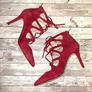 Vince Camuto Red Suede Strappy Cage Stiletto Heels